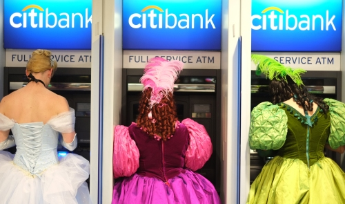Halloween revelers get cash at Citibank.