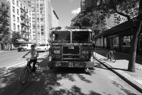 9th avenue NYC Fire Truck Fujifilm Xpro 1 Zeiss Tuoit 12mm 1/250th F 6.3 ISO 200 Film Sim Mode B&W R