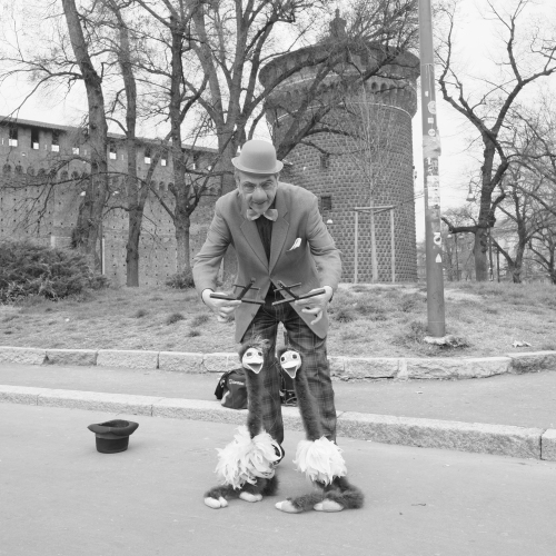 Puppets, Milan Italy. Fujifilm Xpro 1 18mm lens B&W film simulat