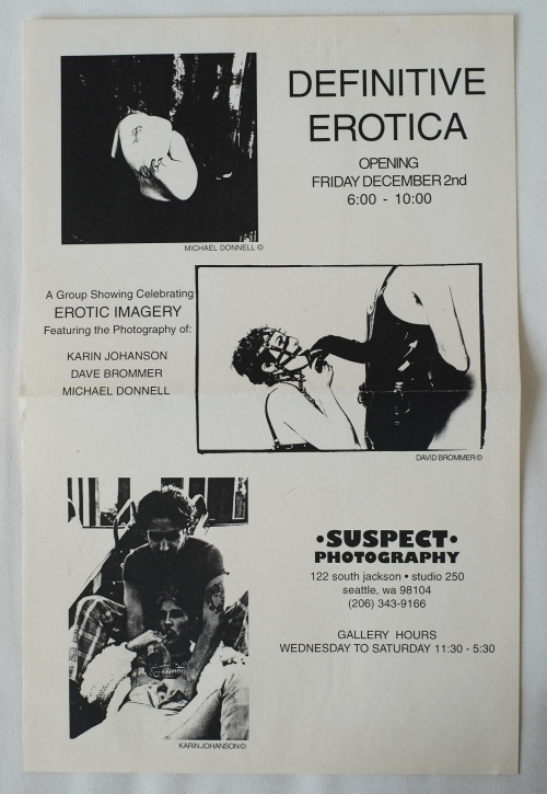 DIY style poster for the 1995 group show, Definitive Erotica at Suspect Photograhy