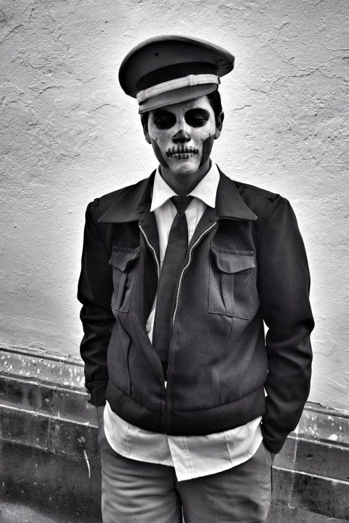 Man with sugar skull and military costume, Zaccatecas