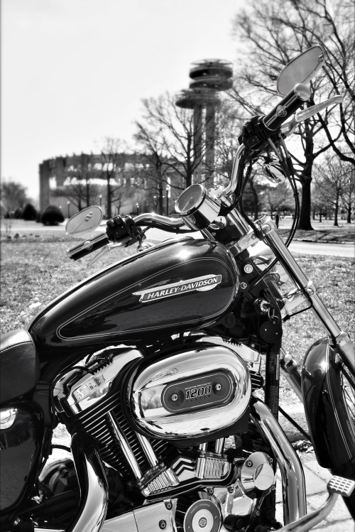 Two Icons, a V-Twin and the Worlds Fair Jump Towers in Queens.