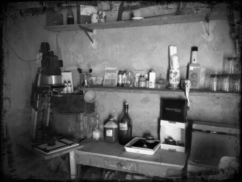 The classic rustic darkroom set up in the back workroom of the Tuscan home in Terontola, next to Cortona in Italy.