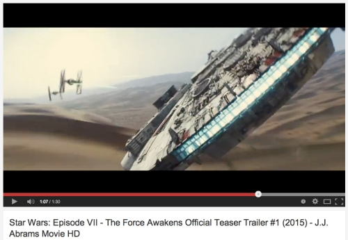 "First trailer for Star Wars Ep. 7 ""The Force Awakens""."