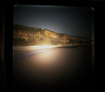 "View of Omaha Beach through the ground glass of the Deardorff 8x10 camera with 8 1/4"" Dagor Lens."