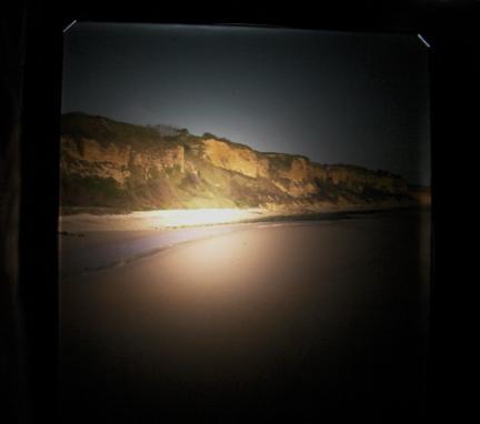 "View of Omaha Beach through the ground glass of the Deardorff 8x10 camera with 8 1/4"" Dagor Lens."
