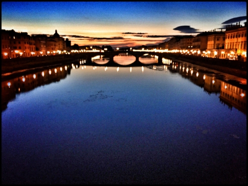 Taken at dusk on a bridge over the Arno River in Florence. I pushed the saturation to give it extra punch. I also shot this with my trusty Fuji XPro1, but made the same shot with the IPhone so I could tag and share it by the time I steppe off the bridge.